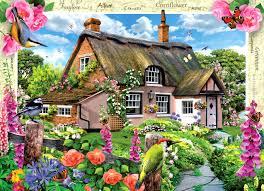 houses foxglove cottage painting tudor architecture scenery art