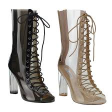 s boots lace up s peep toe corset lace up lucite heel mid calf boots ebay