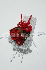 Red Rose Wrist Corsage Shop Red Rose U0026 White Gypsophila Pearl Wrist Corsage For Weddings