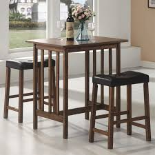 Bar Table And Stool Set 3 Piece Bar Table Set In Nut Brown Finish By Coaster 130004