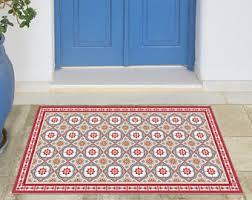 Vinyl Area Rug Vinyl Floor Mat With Decorative Tiles Pattern In Blue Spanish