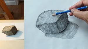 how to draw a rock with pencil 1 youtube