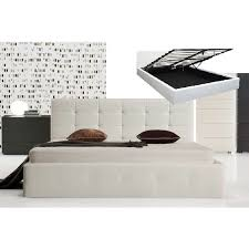 Milan Bed Frame Milan Size Pu Leather Gas Lift Bed Frame In White Buy