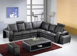 Modern Leather Couch Set 5 Pcs Sectional Italian Leather Sofa Set Item 3330 Black