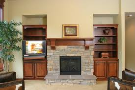 interior stacked stones fireplace ideas displaying with white