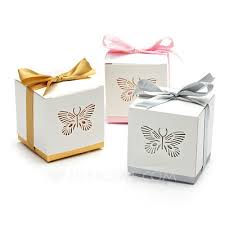 favor ribbons butterfly laser cut cuboid favor boxes with ribbons set of 12