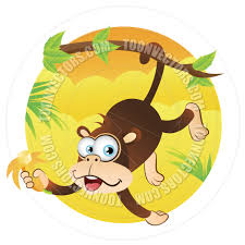 cartoon monkey hanging on tree by tail by cartoongalleria toon