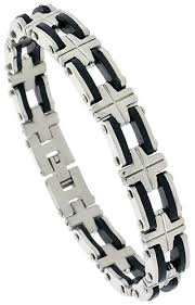 mens bracelet stainless steel rubber images Wholesale stainless steel bracelets today 39 s fashion silver png