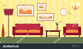 Color Interior Design Color Interior Cartoon Living Room Stock Illustration 350736326