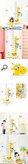 kids height ruler wall sticker cute cartoon giraffe monkey home