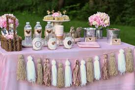 baby shower theme ideas brown white hanging tassel for table
