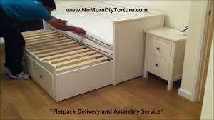 White Desk With Drawers Ikea Ikea Hemnes Day Trundle Bed With 3 Drawers White V2 Youtube