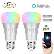 light bulbs that work with amazon echo smart wifi light bulb hompie 7w e27 rgb white led bulbs 60w
