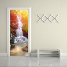 the forest waterfall door stickers 3d pvc self adhesive wallpaper
