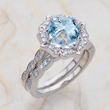 scalloped wedding band vintage floral scalloped bridal set aquamarine engagement ring and