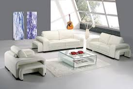 Contemporary Leather Living Room Furniture Home Decorating - White leather living room set