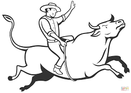 rodeo cowboy bull riding coloring page free printable coloring pages