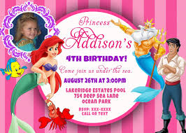 custom photo invitations disney princess ariel the little