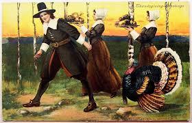 1908 p sander postcard pilgrims gather for thanksgiving feast
