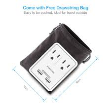 ul listed 2 outlet international travel charger ac plug with usb