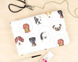 pug wrapping paper dog days gift wrap pet wrapping paper paw print gift wrap