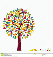 multicolored whimsical tree birds in tree stock image image