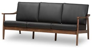 Leather Mid Century Sofa Venza Mid Century Modern Walnut Wood Black Faux Leather 3 Seater
