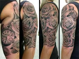 grey ink 3d roses and clock half sleeve design truetattoos