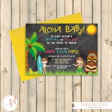 hawaiian luau out baby gender reveal party invitation pink or
