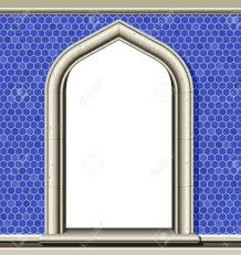 Blue Border Tiles Illustration Of An Ancient Arched Window In A Wall Of Blue Tiles