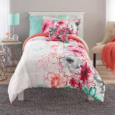 teen girls bedding twin mint green floral comforter set teal coral