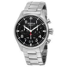 black bracelet mens watches images Alpina startimer black dial stainless steel bracelet mens watch al372b jpg