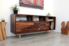 furniture wooden mid century consoles having four top drawer and