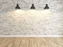 Laminate Flooring Brick Pattern Interior White Brick Wall Decoration Under Three Light Interior