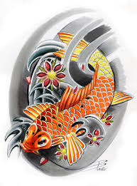 koi this is a nice black u0026 white with color tattoo