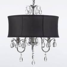 Crystal Drum Shade Chandelier Modern Contemporary Black Drum Shade U0026 Crystal Ceiling Chandelier