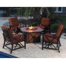 Patio Fire Pit Table Winnfield 5 Piece Patio Conversation Set With Fire Pit Seats 4