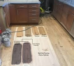 what color hardwood floors go with cherry cabinets oak flooring stain options with cherry cabinets nutmeg