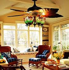 Uplight Ceiling Fans by Makenier Vintage Tiffany Style Stained Glass 3 Light Flowers