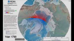 Declination Map North Magnetic Pole U0026 Declination From 1790 2020 Arctic Polar