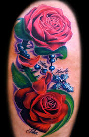 clock red roses and rosary tattoos design in 2017 real photo