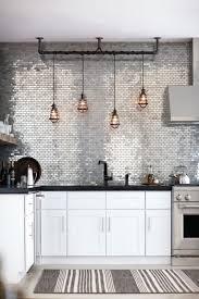 interior glass and metal tile backsplash metal backsplash black