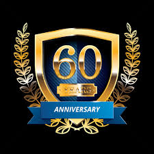 60 years anniversary 60 years anniversary label with ribbon vector image 1399873
