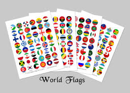 world flags 1 inch circles instant download bottlecap