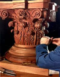 carved wood architectural ornament by custom wood carver