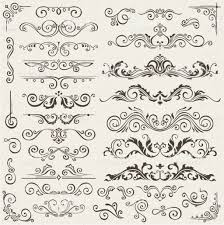 flourish border corner and frame elements collection vector card