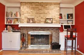 floor to ceiling brick fireplace makeover amazing brick fireplace