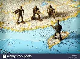 Map Of China And Taiwan by Toy Soldiers On Map Of China And Taiwan Face Off Stock Photo