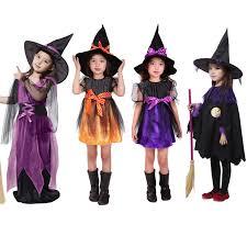 Girls Witch Halloween Costume Aliexpress Buy Witch Dress Hat Children U0027s Costumes