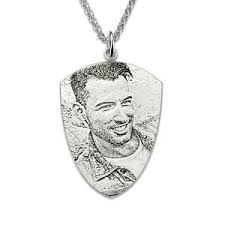 photo engraved necklace personalized photo engraved necklace men s silver shield necklace